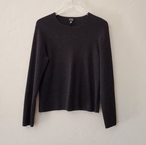 Eileen Fisher Crewneck Marino Wool Top Sweater